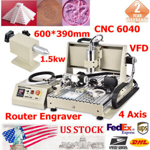 4 Axis 6040 1500w Cnc Router Engraver engraving Caving Milling Machine 3d Cutter