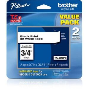 Brother Tze241 Laminated Tape For P touch Labelers black On White 2 Tapes new