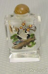 Antique Carved Rock Crystal Snuff Bottle Reverse Painted Cranes Hardstone Top
