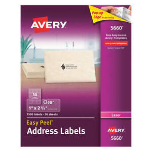 Avery Synthetic Film Label 2 5 8 w X 1 h 1500 Labels pk50 5660 Clear