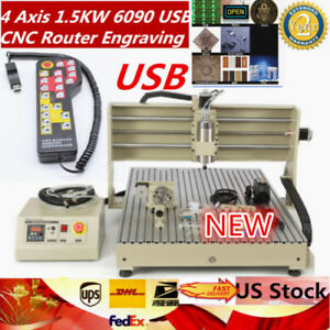 4 Axis 1 5kw 6090 Usb Cnc Router Engraving Cutting Milling Machine 110 220v