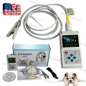 Veterinary Pulse Oximeter Handheld Spo2 Pr Monitor Tongue Probe sw Contec Cms60d