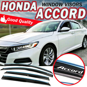 Fits 18 19 Honda Accord Sedan Window Visor Mugen Style W Chrome Trim