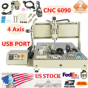 New 4axis Usb Cnc Router 6090 Engraver Milling Engraving Machine For Woodworking