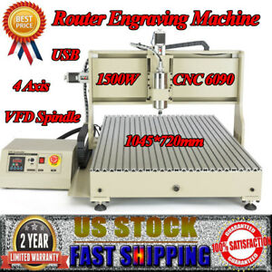 4axis 6090 Usb Cnc Router Engraver Metal Wood Caver Engraving Cutting Machine Us