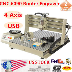 Usb 4axis 6090 Usb Router Engraver 3d Cutter Drilling Milling Engraving Machine