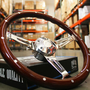 380mm Chrome Dark Steering Wheel Real Wood Riveted Grip 15 6 Hole