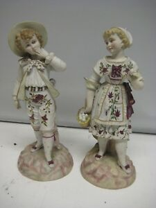 Beautiful French Pair Of Porcelain Figurines Of A Country Couple 1900 1940