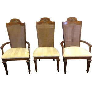 Set Of 6 Broyhill French Country Provential Style Cane Back Chairs Louis Xv Euc