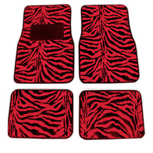 New 4pc Set Front And Rear Car Truck Red Zebra Floor Mats Universal