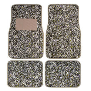 New 4pc Set Front And Rear Car Truck Gold tan Cheetah Floor Mats W Tan Heel Pad