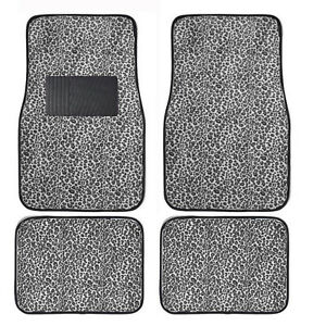 New 4pc Set Front And Rear Car Truck Gray Cheetah Floor Mats W Heel Pad
