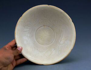 China Antique Porcelain Song Ding Kiln White Glaze Carving Lotus Bowl Collection