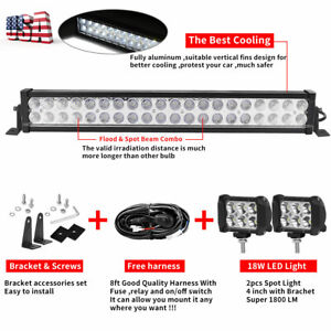 24inch Led Light Bar Spot Flood Combo 2x 4 Pods For Jeep Ford Suv 4wd Ute 20