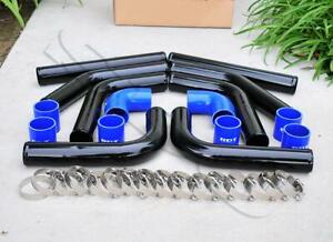 8 Pieces 2 5 Black Intercooler Piping Blue Silicone Coupler T blot Clamp Kit