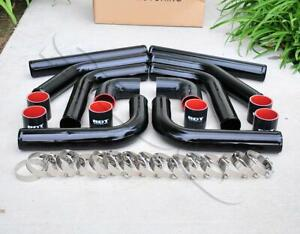 8 Pieces 2 5 Black Intercooler Piping Black Silicone Coupler T blot Clamp Kit