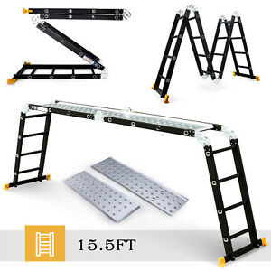 15 5ft Aluminum Multipurpose Ladder Telescoping Folding Extension Platform Black