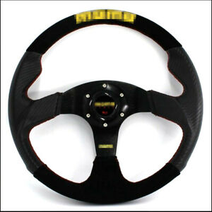 Car Steering Wheel 14 Inch Carbon Fiber Pvc Suede Leather 350 Mm Racing Steeri