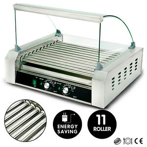 New Commercial 30 Hot Dog 11 Roller Grill Stainless Steel Cooker Machine W cover