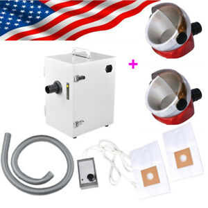 Dental Lab Digital Dust Collector Vacuum Cleaner 370w Cleaning 2 suction Base