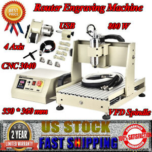 4 Axis Router Engraver 800w Cnc 3040 Usb 3d Engraving Milling Machine Desktop Us