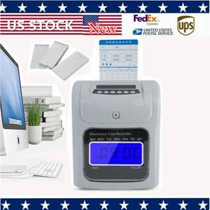 Employees Attendance Punch Time Clock Payroll System Lcd Display Office Machine