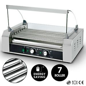 New Commercial 18 Hot Dog 7 Roller Grill Stainless Steel Cooker Machine W cover