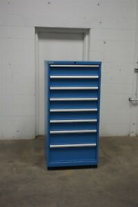 Used Lista 8 Drawer Cabinet Industrial Tool Parts Storage 1509 Vidmar