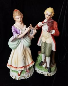 2 Victorian Figurines Matched Couple Porcelain French German 8