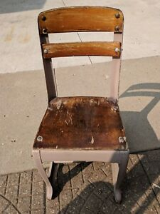 Vintage Small Child S Wooden And Metal School Chair