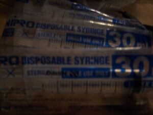 Lot Of 80 Sterile Nipro Syringe Syringes Only With Luer Lock Tip 30ml 30cc