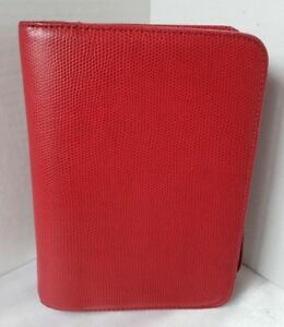 Franklin Covey Compact Planner Organizer Red Zip Synthetic Pebbled Leather 1 25