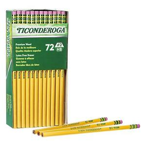 Ticonderoga Wood Cased Graphite Pencils 2 Hb Soft With Eraser Yellow 72 Pack New