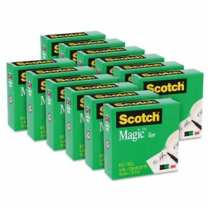 Scotch Magic Tape 1 Core 3 4 X 1296 Clear 12pk New Fast Free Shipping