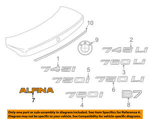 Bmw Oem 2008 Alpina B7 Trunk Lid emblem Badge Nameplate 51008025862