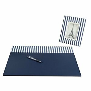 On My Desk Stripes 17 X 22 Desk Pad Set With Padded Cotton Header And Matching