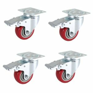 Dicasal 3 Swivel Casters With Brakes Heavy Duty Plate Casters No marking Quiet