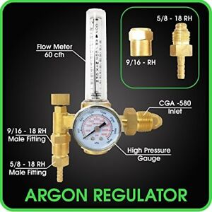 Argon Regulator Tig Welder Mig Welding Co2 Flowmeter 10 To 60 Cfh 0 To 4000