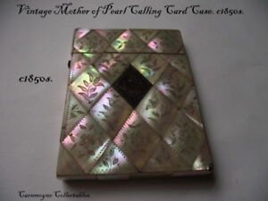 Vintage Mother Of Pearl Victorian Calling Card Case C1850s Ah2256