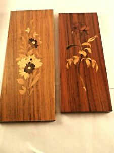 French Marquetry Wood Inlay Flower Wall Art Lot Of 2