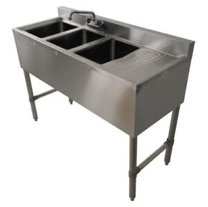 Three Compartment Commercial Kitchen Sink Stainless Steel Right Drain Board