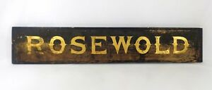 Early Mid 19th C Antique Wooden Sign Rosewold W Black Paint Gold Gilt Lettering