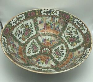 Very Large Antique Chinese Famille Rose Medallion Punch Bowl Porcelain 19th C