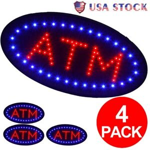 4 Pcs Atm Sign Store Atm Light Atm Led Window Sign Atm Ligh Sign Atm Signage My