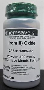 Iron iii Oxide Powder 100 Mesh 99 998 trace Metals Basis 100g