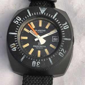 AQUASTAR GLASSTAR AUTOMATIC DIVER TOOL WATCH 10 ATM AND THERMO