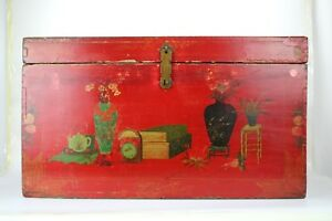 A Chinese Antique Red Wooden Trunk With Painting Vase And Books