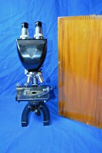 Vintage Bausch Lomb Binocular Microscope With Wood Case