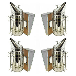 Set Of 4 Bee Hive Smoker Stainless Steel With Heat Shield Beekeeping Equipment