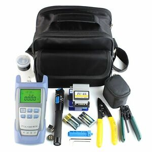 Fiber Optic Ftth Tool Kit With Fc 6s Fiber Cleaver Optical Power Meter 5km Ns